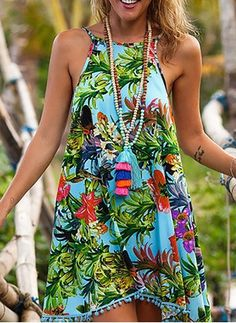 Damas Swing vestido-Aqua floral mixto flor estampado con Aqua POM POMLadies Swing Dress – Aqua Floral Mixed flower Print with Aqua Pom Pom'sLILLA' Sexy Dresses, Casual Dresses, Summer Dresses, Mini Dresses, Short Dresses, Ladies Dresses, Floral Dresses, Look Fashion, Fashion Outfits