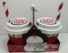 Inking Idaho: Christmas Gifts For The Teachers Stamped Christmas Cards, Christmas Paper Crafts, Teacher Christmas Gifts, Stampin Up Christmas, Christmas Treats, Christmas Projects, Holiday Crafts, Mini Coffee Cups, Tea Cups