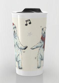 """""""The polar bears wish you a Merry Christmas"""" Travel Mug by Savousepate on Society6 #travelmug #mug #drawing #christmas #xmas #polarbears #whitebears #music #dance #funny #cute"""