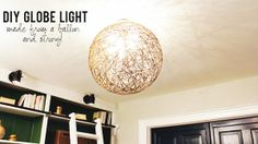 DIY Globe Light Fixture: This DIY light fixture uses only a few materials and is so easy to do - you could even get your kids involved! It's a bit messy, but you won't believe how beautiful this gorgeous globe fixture is when you finally hang it up. Here's how: http://livewelln.co/1k50NL7 #DIY #KnockItOffTV #LightFixture