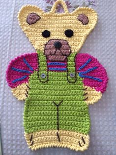 Teddy Bear hand crocheted pot holder embroidered by hand placemat decoration kids bedroom cotton yarn holiday birthday gift Easter woman day Crochet Applique Patterns Free, Crochet Motif, Crochet Flowers, Hand Crochet, Crochet Wallet, Crochet Potholders, Crochet Teddy, Crochet Bear, Crochet Crafts