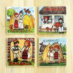 Magnet suvenir- motive traditionale   festART Romania, Art Images, Magnets, Coasters, Baseball Cards, Art Pictures, Coaster