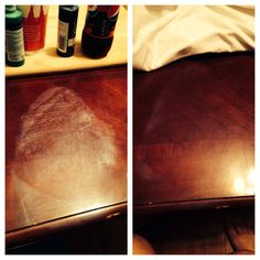 Had a huge white stain from ironing on our wood end table with steam.  Who knew an iron would actually help take out the stain that caused it.  I used a cotton shirt, with the iron on cotton setting. Laid the shirt over stain, and ran the iron over the stain for about 5 mins. (Don't just leave iron sitting there in one place) It was gone ! Afterwards I put Olive oil on the place stain was.  Magic !