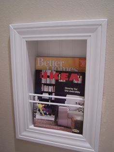 Recessed Magazine Rack - I want this in the bathroom and a toilet paper holder in there would be cool too