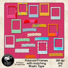 Polaroid Frames and Matching Washi Tape set of 20 - $1.50 : ScrapPNG, Digital Craft Graphics