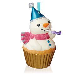 New Year's Snowman Keepsake Cupcake Ornament