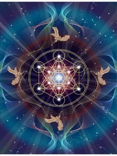 'Cube de Metatron - Merkabah - Paix et équilibre' by art-by-angels Sacred Geometry Art, Sacred Art, Art Fractal, Art Visionnaire, Balance Art, Platonic Solid, Visionary Art, Flower Of Life, Psychedelic Art
