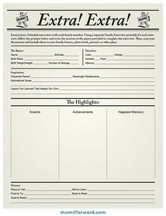 Here is a fun printable to capture fun facts of each of your family members.  MomItForward.com