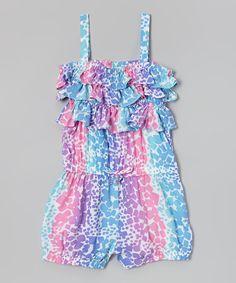 Loving this Longstreet Pink & Blue Spot Ruffle Romper - Infant, Toddler & Girls on #zulily! #zulilyfinds