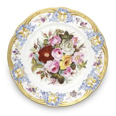 A fine Nantgarw plate, circa - Antique hand painted porcelain floral plate, raised border with gold gilt - Early century floral china plate Old Plates, Antique Plates, Antique China, Ceramic Plates, Japanese Porcelain, China Porcelain, Painted Porcelain, Red And Yellow Roses, Pink White