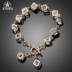 AZORA Brand Design Gold Color Stellux Austrian Crystal 12pcs Cube Charm Bracelet TS0023