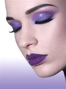 purple eyeshadow and lipstick