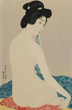 "Japanese Art Print ""Woman after a Bath"" by Hashiguchi Goyo, woodblock print reproduction, vintage, f Japanese Drawings, Japanese Prints, Toledo Museum Of Art, Art Museum, Art Geisha, Era Taisho, Art Occidental, Japan Painting, Art Asiatique"