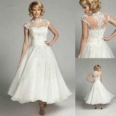 Lace White/Ivory short Wedding Dress Bridal Gown Custom Size 4 6 8 10 12 14 ++