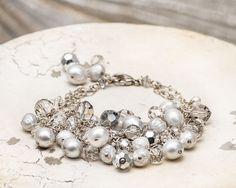 Gray/Silver Tri-Strand Drop Bracelet