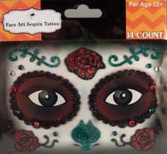 Rhinestone & Glitter Day of the Dead Red & Green Sugar Skull Face Art Kit. Simply peel and stick each piece of the design over your accent make-up (eye shadow, blush, etc.) to apply! 24 different designs to choose from! Rhinestone Makeup, Sugar Skull Face, Crystal Tattoo, Day Of The Dead, Face Art, Eye Shadow, Red Green, Costume Ideas, Makeup Ideas