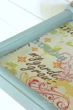 Thrifty Makeover with French Fabric Decoupage - Artsy Chicks Rule® Sanding Furniture, Decoupage Furniture, Hand Painted Furniture, Paint Furniture, Repurposed Furniture, Shabby Chic Furniture, Diy Furniture Renovation, Furniture Makeover, Bookcase Makeover
