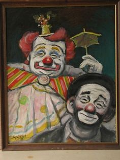Original Circus Clown Oil Painting by Hy Vogel 1958 (03/06/2013)