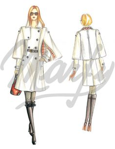 Fabric required about mt 4 10 wide 1 40 – only coat mt 3 00 wide 1 40 Double-breasted trench-style coat with cape lined in tartan jersey flared bottom and short belt that emphasizes the waist Marfy Patterns, Coat Patterns, Sewing Patterns, Vintage Outfits, Vintage Fashion, Bodycon Outfits, Illustration Mode, Drawing Clothes, Dress Drawing