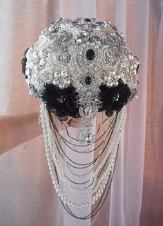 "Custom Cascade Style Brooch Bouquet - $599 FULL PRICE IS $599, DEPOSIT IS $399, BALANCE $200 @# COMPLETION This is a Custom Made 9.5"" (27"" in circumference, 12"""