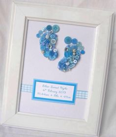 Button Art Baby Feet by SibyennaCrafts on Etsy, Hobbies And Crafts, Crafts To Make, Arts And Crafts, Paper Crafts, Button Art, Button Crafts, Craft Gifts, Diy Gifts, Button Picture