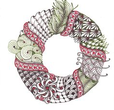 | Holiday | Cards | Wreath | I Teach Tangling | Zentangle | Doodling | Tangle Pattern | Tutorials | How To |