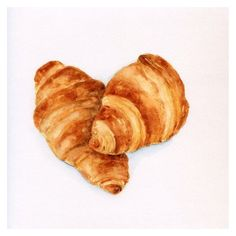 Classic Croissants ORIGINAL Painting (Desset Illustration, Still Life,... ❤ liked on Polyvore featuring home, home decor, wall art, water color painting, watercolor illustration, watercolour painting, water colour painting and watercolor painting