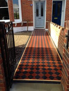 100mm black and red chequer board victorian mosaic tile path london