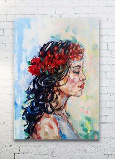 Blue red beige colorful spanish female  Handmade acrylic