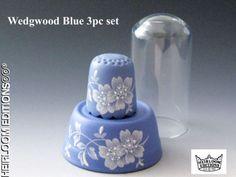 BLUE WEDGWOOD COLOR PORCELAIN THIMBLE 3 PC SET