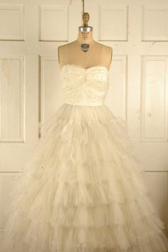 1950s Tulle Wedding Dress / Vintage Cream Tulle by DalenaVintage, $275.00