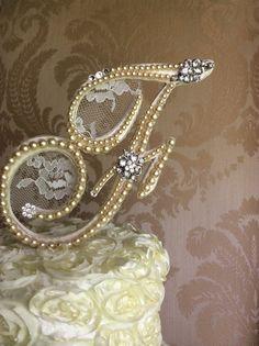 monogram  pearl cake topper custom cake topper by TheCrystalFlower, $115.00