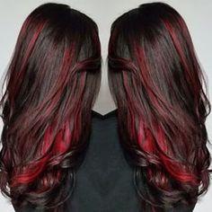 New hair color red streaks dark Ideas Hair Color And Cut, Cool Hair Color, Peekaboo Hair Colors, Red Brown Hair, Dark Brown, Dark Red, Hair Highlights, Red Hair Streaks, Red Peekaboo Highlights