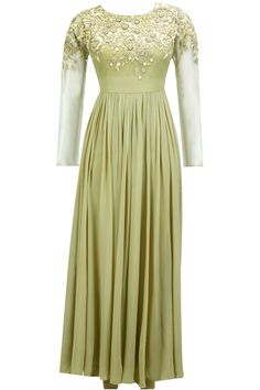 Olive green zardosi embroidered anarkali set available only at Pernia's Pop-Up Shop.