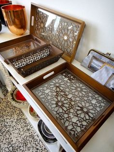 Laser Cut trays inspired by the Moroccan Zellige pattern.: Laser Cut trays inspired by the Moroccan Zellige pattern. Laser Cutter Ideas, Laser Cutter Projects, Laser Art, Laser Cut Wood, Laser Laser, Wood Laser Ideas, Laser Cut Panels, Wood Cutting, Laser Cutting
