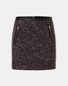 Mini-jupe Smart Set en tweed et en faux cuir / Tweed and faux-leather mini skirt #placemtltrust #smartset