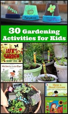Fun things to try in a backyard garden! DIY garden crafts, outdoor play, learning about plant life cycles and more ideas for gardening with kids! Includes a list of children's books about growing plants, seeds and gardens plus lots of resources and inspi Garden Crafts For Kids, Preschool Garden, Diy Garden Projects, Projects For Kids, Diy For Kids, Garden Ideas, Kids Fun, Gardens For Kids, Kid Garden