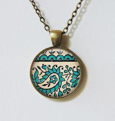 Aqua Paisley Pendant Necklace/Glass Dome Pendant/Aqua by Kalteisen