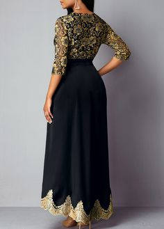 High Waist V Neck Lace Panel Dress | Rosewe.com - USD $40.20