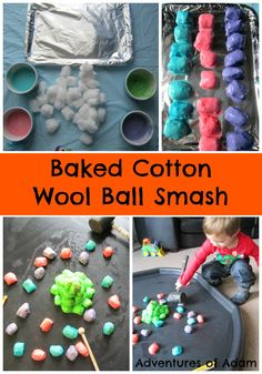 Easy to make baked cotton wool balls that are hard on the outside and soft on the inside. Adventures of Adam Baked Cotton Wool 31 Day Sensory Play Challenge Childcare Activities, Nursery Activities, Infant Activities, Preschool Activities, Colour Activities, Sensory Tubs, Baby Sensory, Sensory Play, Tuff Spot