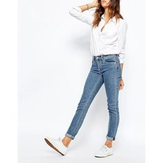 Levis 721 High Rise Skinny Jeans (360 PEN) via Polyvore featuring jeans, grey, skinny leg jeans, tall jeans, high-waisted skinny jeans, gray skinny jeans y super skinny jeans
