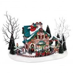 Department 56 Christmas Lane Series Animated Snow Village, Santa's Wonderland House – Holiday Collectible Buildings: Christmas Gifts Christmas Village Display, Christmas Village Houses, Halloween Village, Christmas Villages, Halloween Labels, Spooky Halloween, Vintage Halloween, Halloween Pumpkins, Halloween Crafts