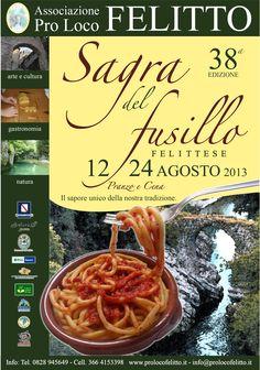 Manifesto della 38a edizione della Sagra del Fusillo Felittese - Anno 2013