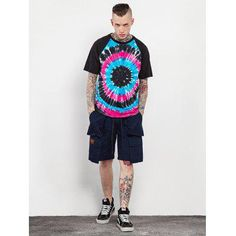 Male Cotton Tie-dyed Gradient-color Short Sleeve T-shirt