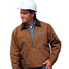 Order custom logo embroidered construction clothing including embroidered Artic quilt lined, thermal lined or flannel lined work jackets plus safety parkas and jackets, zippered fleece jackets, long sleeve construction work shirts, company fleece shirts, denim shirts, polo shirts, and embroidered uniform shirts in short or long sleeve.