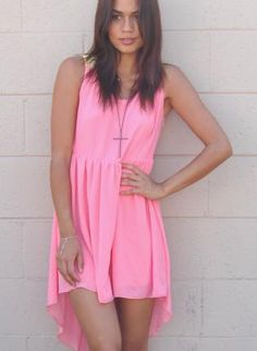 ustrendy, Pink Chiffon Sleeveless Hi-Low Dress with Yellow Back,  Dress, color block dress  high-low, Chic