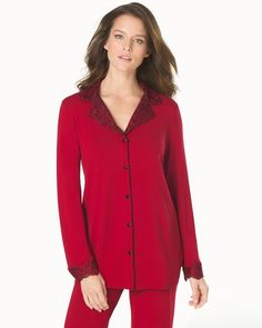 Soma Intimates Sensuous Scroll Notch Collar Pajama Top Ruby With Ruby Lace #somaintimates