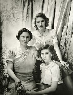 U.K. Queen Elizabeth the Queen Mother, Princess Elizabeth and Princess Margaret beautifully photographed by Sir Cecil Beaton.