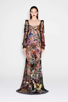 Delicately Designed Empire Waist Evening Gown with Long Sleeves - Alexander McQueen Pre-Fall 2016 Fashion Show