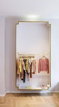 Crisp Closet- exposed closet or dressing room area Design Shop, Home Design, Design Design, Rack Design, Nordic Design, Display Design, Design Ideas, Exposed Closet, Interior Inspiration